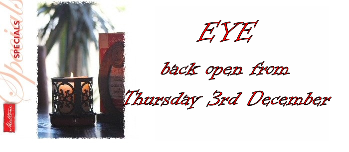 Our Eye restaurant is back open on Thursday 3rd December.