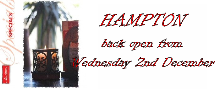 Our Hampton restaurant is back open on Wednesday 2nd December.